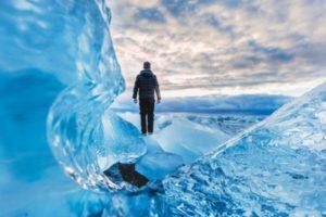 man on blue wave