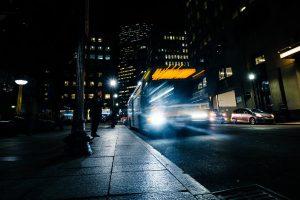 bus on night lighted street