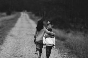 kids walking on path